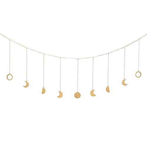 Zunbo 1× Wandbehang Deko Kette mit Mondphasen Formen Girlande Abgehängt Boho Wandbehang Künstlerische Deko zur Hochzeit,Party,Wohnzimmer (golden)