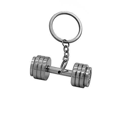 tumundo Schlüssel-Anhänger Schlüsselring Edelstahl Hantel Box-Handschuh Gewicht Fitness Bodybuilding Sport Bizeps Muskel, Variante:Mod9 - Silber