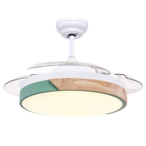 Ventilatori da soffitto con lampada Semplice soffitto del LED Fan lampada a scomparsa Casa nordico di conversione di frequenza di legno del ventilatore di soffitto Fan luce elettrica Ventilatori da so