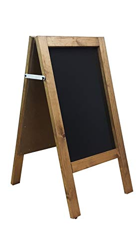 A Board - Chalkboard - Blackboard - Pavement Board -Dark Oak - for USE with Traditional Chalk and/OR Liquid Chalk PENS. Weight 5KGS Height 80cm x Width 40cm. Free DELIVERY to UK Mainland.