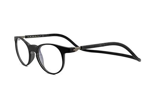 SPORTS WORLD VISIONs magnetische Lesebrille im Slastic Clic-Stil (schwarz) Soho 002 Robuste runde Unisex-Brillenbrille mit weichem Gehäuse, Antireflexlinsen und verstellbaren Seiten, 2,00