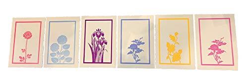 活版印刷はがき花シリーズ 6枚セット 日本製