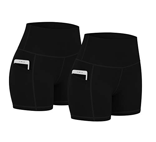 """Fengbay 2 Pack 5"""" Biker Shorts for Women with Pockets, High Waist Workout Shorts for Women Compression Yoga Shorts"""
