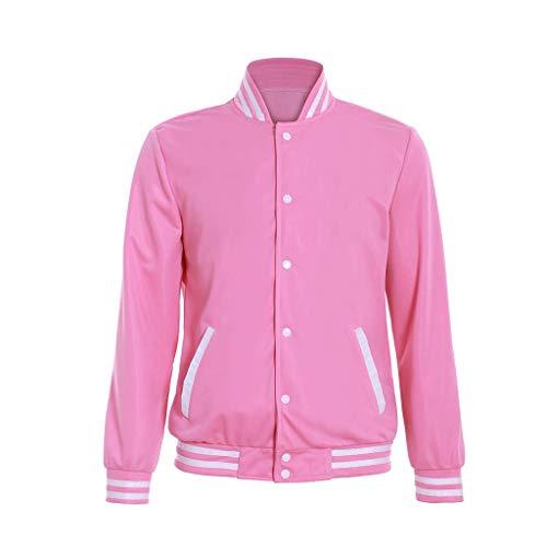 Fortunehouse Men's Steven Universe Pink Coat Hoodie Baseball Uniform Unisex Cosplay Costume, Medium