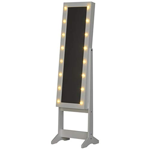 benzoni Specchio da Terra Armadio Portagioie Regolabile e Luci LED Bianco 36x30x136 cm
