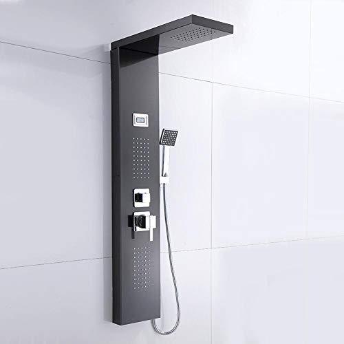 Duschpaneel, Schwarz Duschpaneel mit Thermostat und 3 Wasserauslässe, Edelstahl Duschsysteme mit LCD-Anzeige, 3/8 Zoll