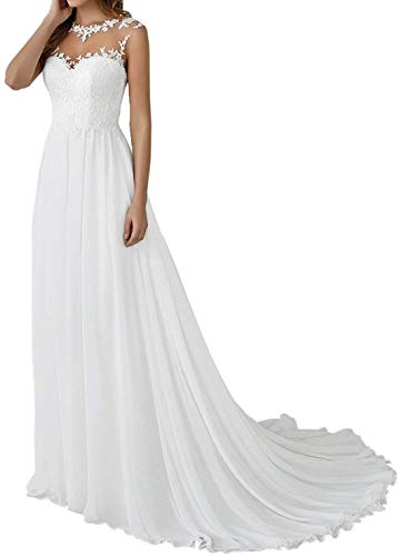 Cloverbridal - Vestido de boda para mujer, elegante, largo, color blanco, vintage,...