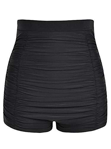 Abtel Pantalones cortos de baño de cintura alta para mujer, pantalones cortos de playa fruncidos con control de barriga, pantalones elásticos