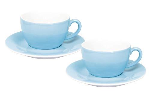 Kahla 57D167A72025C Pronto Colore blau Porzellan 2er Espressotassen Set 4-teilig kleine Tasse 80 ml Mokkatasse Untertasse rund für 2 Personen