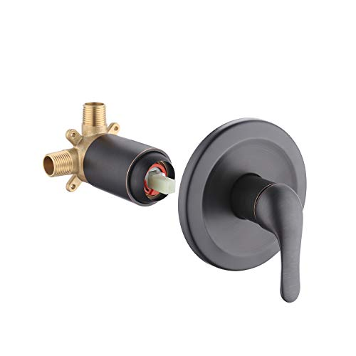 KES Pressure Balance Shower Faucet Set Brass Shower valve ANTI-SCALD Rough-in Concealed Valve Stainless Steel Trim Plate, Oil Rubbed Bronze, LB6700-ORB