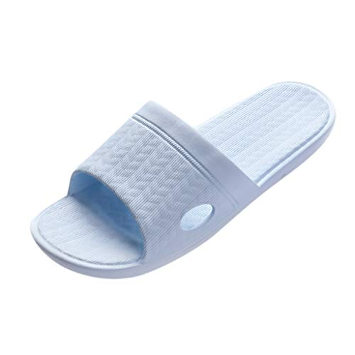MIRRAY Women's Home Slippers Plain Flat Non Slip Bathroom Shower Comfy Summer Water Proof Beach Sandals Men Flip Flop Blue
