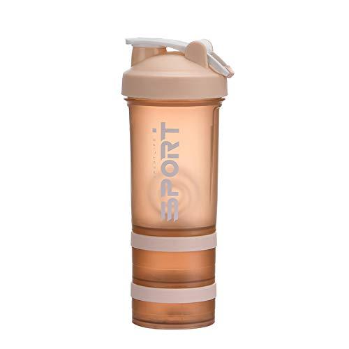 Leyeet Botella de la coctelera de proteína portátil suplemento mezclador taza con almacenamiento en polvo para correr ciclismo fitness