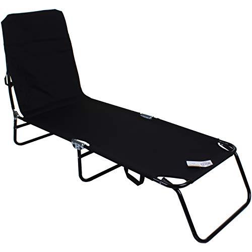 Marko Black Sun Lounger Bed Reclinable Garden Camping Beach Folding Portable Metal