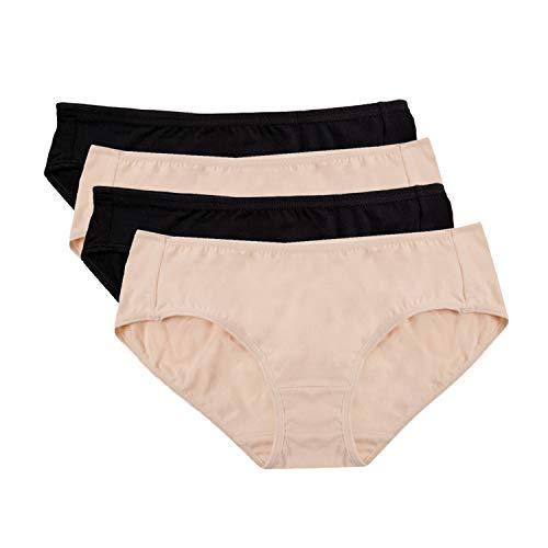 Hesta Rael Women's Organic Cotton Basic Panties Underwear 4 Pack (Large, 2black/2natural)