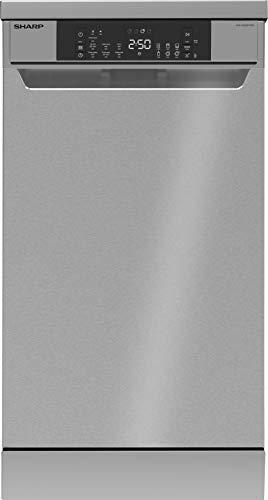 Sharp QW-NS22F47EI-DE Freistehender Geschirrspüler / 45 cm / E / 10 Maßgedecke mit Besteckschublade / 7 Programme mit 30 min. Kurzprogramm / Edelstahl