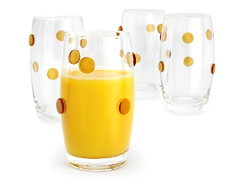 Heavy Base Highball Drinking Glasses with Gold Polkadot Design, Set of 4, 14 Ounces