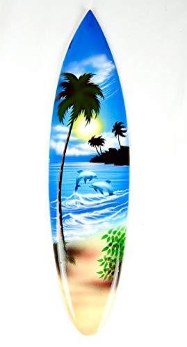 Asia Design Tabla de surf en miniatura con soporte de madera, decoración n.º 17 (30 cm)