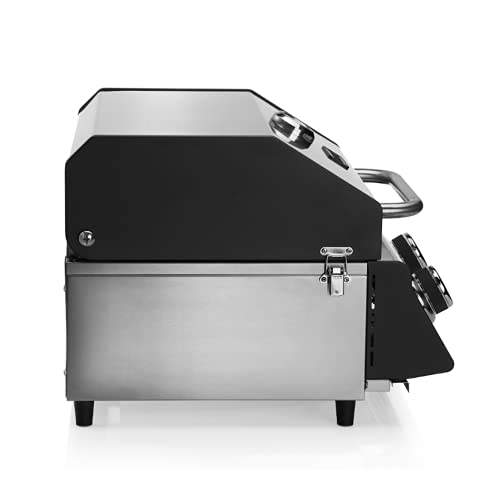 CosmoGrill Compact Gas Stainless Steel 2 Burner BBQ Ideal For Tables Grills Terraces Camping (Compact BBQ)
