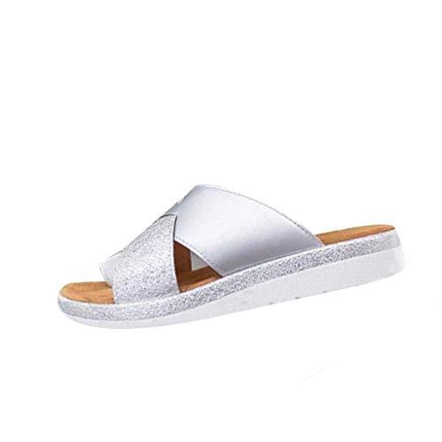 NMERWT Damen Hausschuhe Casual rutschfest Schlappen Slipper Frauen Thick Bottomed Sandal Schuhe Keilabsatz Sandalen Clip Toe Sommer Strand Schuhe