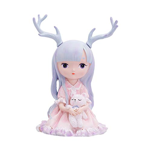 VOSAREA Deer Ornament Cake Topper Decor Cute Resin Fawn Doe Figurines Toys Woodland Animal Deer Ornament Home Party Decor for Baby Shower Birthday Wedding Style 2 S