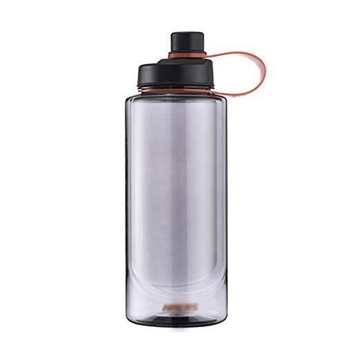 ZYS Water Bottle practical Sports Water Bottle 1L/1.5L/2L with Handle leak-proof Sports Flask BPA-Free Drinks Bottle,for Running Gym Outdoors (Color : Grey, Size : 2000ML)