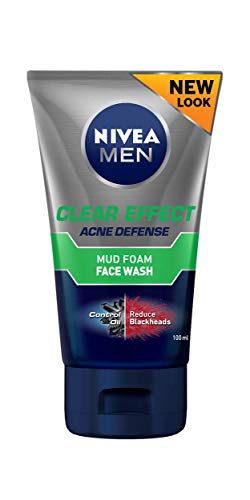 NIVEA Men Clear Effect Acne Defence Mud Foam Face Wash, Formulated with Magnolia Oil, Carnitine and Charcoal, 100ml