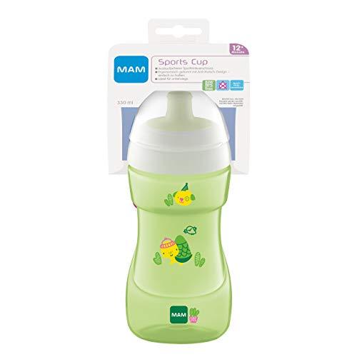 MAM Sports Cup (330 ml), auslaufsicherer Baby Trinkbecher mit selbstöffnendem Ventil, Kinder Trinkbecher mit rutschfester Greiffläche, ab 12+Monaten, Schildkröte