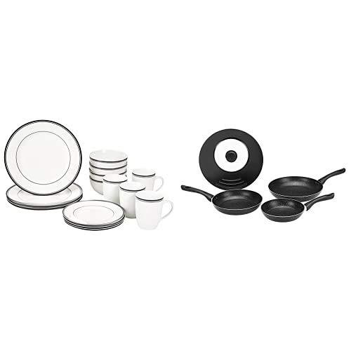 AmazonBasics - Vajilla para 4 personas (16 piezas), diseño de rayas + Juego de 3 sartenes de inducción