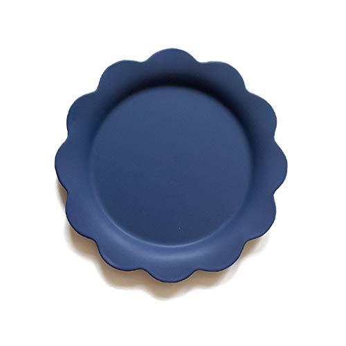YUWANW Fleur Créative Assiette Plate En Céramique Western Plat Pâtes Steak Salade Bol Soupe Bol Petit Déjeuner Bol Assiette À La Maison Plat, Fleur Bleue Assiette Plate # 69