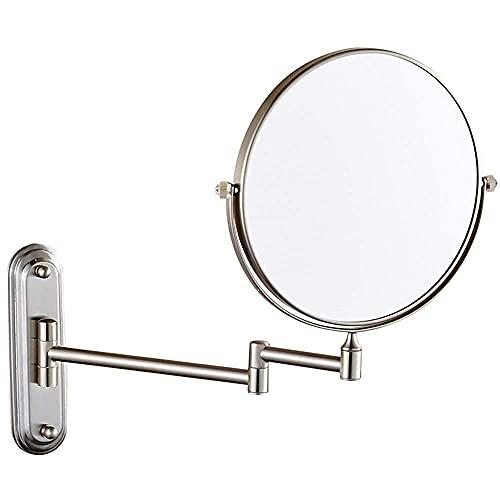 SGSG Productos para el hogar/baño Espejos de Maquillaje de baño, Latón montado en la Pared Doble Cara 360 & deg;Afeitado de tocador con Lupa giratoria Extensible Ajustable