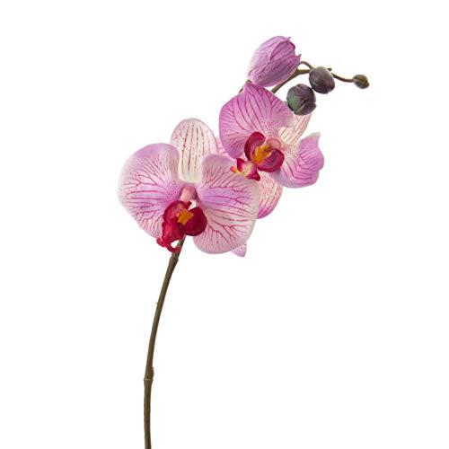 artplants.de Künstlicher Phalaenopsis Zweig Vanessa, 3 Blüten, rosa - pink, 30cm - Deko Blumen Zweig - Kunstorchideen Zweig