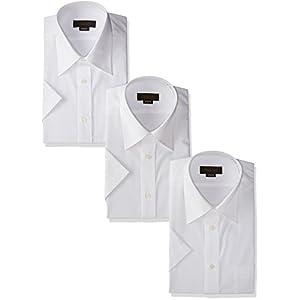 [スティングロード] 半袖 3枚セット レギュラーカラー 白ワイシャツ 形態安定 ノーアイロン 綿高率混 レギュラーフィット MA100-3 メンズ ホワイト 首回り39cm