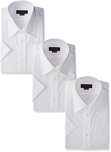 [スティングロード] 半袖 3枚セット レギュラーカラー 白ワイシャツ 形態安定 ノーアイロン 綿高率混 レギュラーフィット MA100-3 メンズ ホワイト 首回り43cm