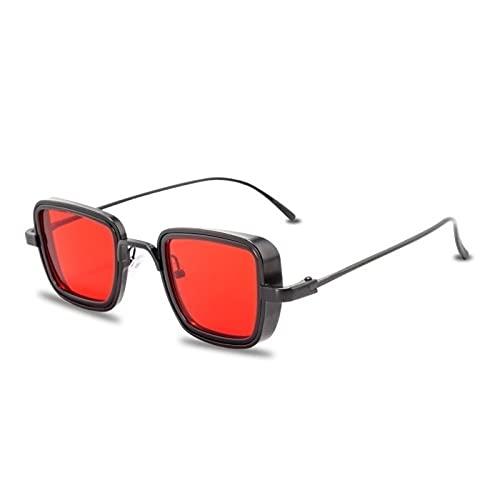 QWKLNRA Gafas De Sol para Hombre Marco Negro Lente Roja contra-UV Gafas De Sol Steampunk De Metal Vintage Hombres Mujeres Gafas De Sol Cuadradas para Hombres Mujeres Tonos Retro con Estilo Hombre Mu