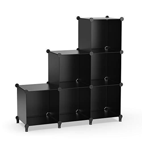 HOMIDEC 6-Cube Storage Shelf Storage Bookcase Bookshelf with Metal Hammer Storage Cubes Organizer Cabinet for Kids Closet Bedroom Bathroom 118x118x118 inch Black