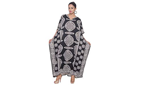 Goood Times Caftan Dress Long Maxi Paisley Print Gown Beach Cover Up,Black,One Size