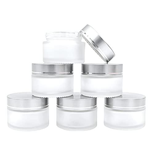6 Pcs 30ml Frascos De Vidrio Redondos Crema Botella con Cubierta Recipientes Vacíos para Cosméticos para Viaje Petróleo Loción