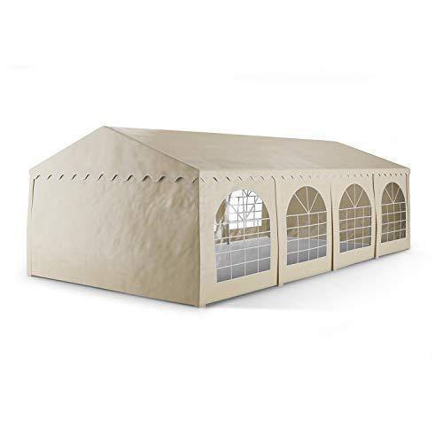 blumfeldt Sommerfest 4x8m 500 g/m² Partyzelt Pavillon Bierzelt Festzelt PVC Plane wasserdicht verzinkt beige