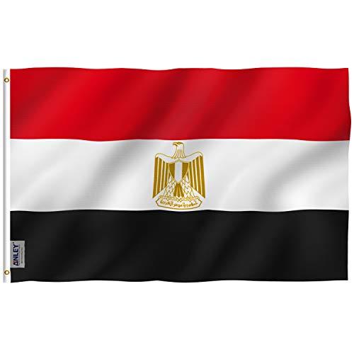 Anley Fly Breeze 3x5 Fuß Egypt Flag - Lebendige Farbe und UV-beständig - Canvas Kopf- und Doppelnaht - Ägyptische Flaggen Polyester mit Messingösen 3 X 5 Ft