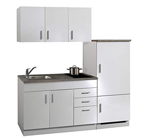 lifestyle4living Singleküche mit Glaskeramikkochfeld und Kühlschrank | Miniküche 180 cm in Weiß mit Arbeitsplatte, Spülbecken und Kochfeld