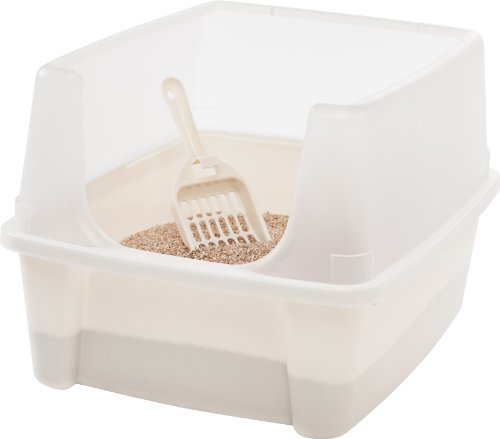 IRIS USA Open Top Cat Litter Box Kit with Shield & Scoop, White CLH-12