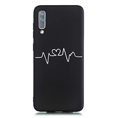Huphant Kompatibel mit Samsung Galaxy A70 Hülle, Stoßstange Gemaltes Non-slip Anti-gelb Ultradünn Silikon Handyhülle für Samsung Galaxy A70 Case Silikon -Herzschlag