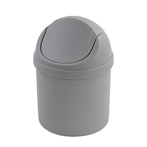 Zerdyne Mini papelera de plástico con tapa basculante, 2 L, color gris