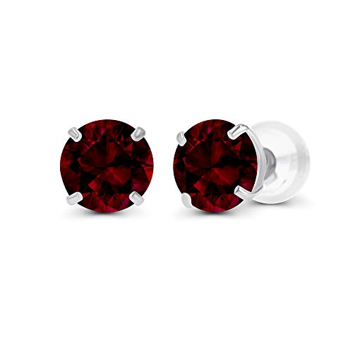 14K Solid White Gold 4mm Round Natural Garnet January Birthstone Prong Set Stud Earrings For Women and Girls