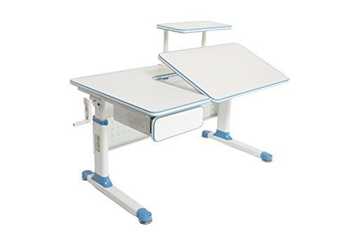 "ApexDesk Little Soleil Dx 43"" Children's Height Adjustable Study Desk W/Integrated Shelf & Drawer (Blue), Denim Blue"