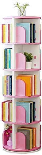 YZ Libreria per bambini Colorata Ruota multifunzione rotonda, quadrata 5 / Libreria a strati di grande capacità da terra, 3 colori,Rosa,46 * 46 * 158 cm