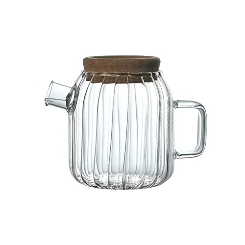 hkwshop Pitcher Water Jug Borosilicate Glass Pitcher with Cork Cap Household Heat-resistant Glass Carafe with Handle Electric Ceramic Stove Heating Teapot Water Pitcher (Size : Medium)