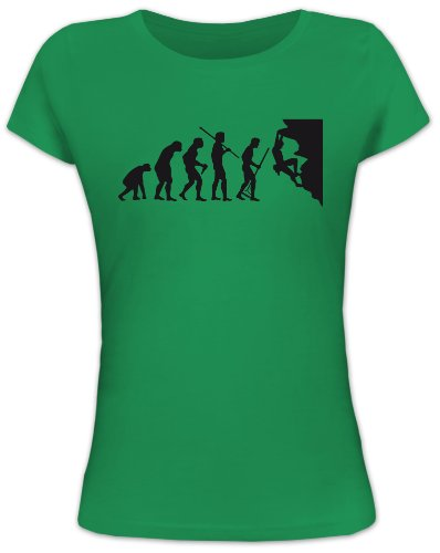 Shirtstreet24, Evolution Climber, Kletter Lady/Girlie Funshirt, Größe: M, Kelly Green