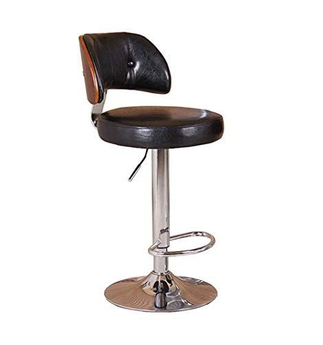 XNLIFE zwarte barkruk ontbijtstoel met rugleuning, in hoogte verstelbare draaibare eetstoel, hoogwaardige PU-lederen kussen, woonkeukenmeubilair Hoge stoel