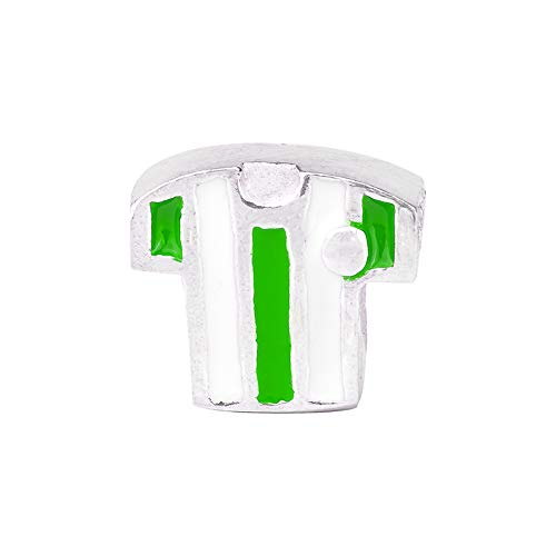 Eguzkilore Charm Plata de Ley 925 Abalorio Camiseta de Fútbol Esmalte Verde...